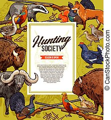 Wild animals and birds. Hunting season