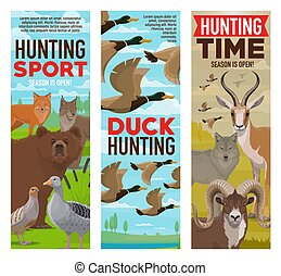 Wild animals and birds, hunting sport banners