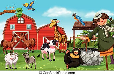 Wild animals and farm animals in farmyard