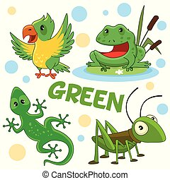 Wild animals and insects of green color 2