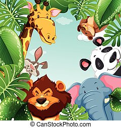 Wild animals and leaves around the border illustration