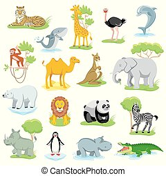 Wild animals and sea creatures set with landscape - Wild...