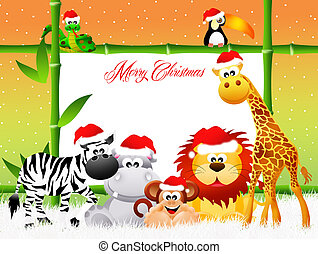 Wild animals with Christmas hat