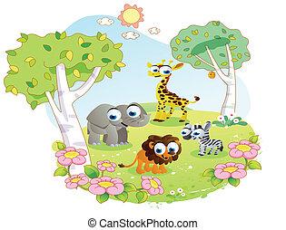 wild animals at the flower garden