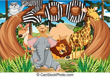 Wild animals at the zoo entrance