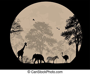 Wild animals background - Wild animals in front a full moon,...