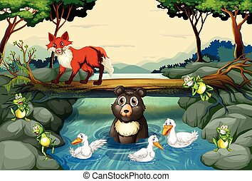 Wild animals by the river