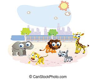 wild animals cartoon at the park