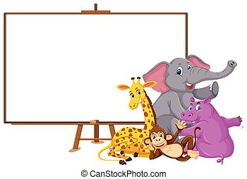 Wild animals cartoon character and blank banner on white background