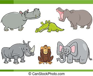 wild animals cartoon set