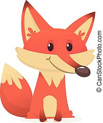 Wild animals collection Red Fox cartoon. Vector illustration isolated on white