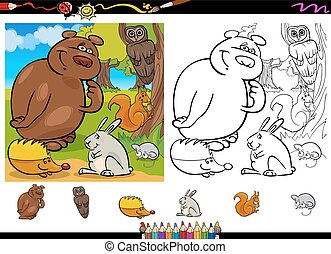 Cartoon Illustration of Cute Forest Wild Animals Group for Coloring Book with Elements Set