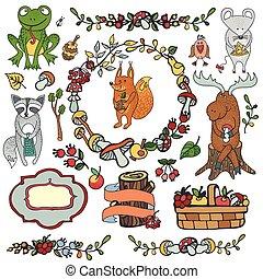 Wild animals ,decor elements. Woodland autumn doodles - ...