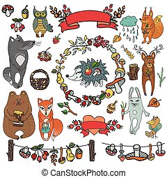 Wild animals ,decor elements.Woodland,autumn doodles -...