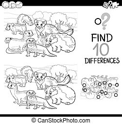 wild animals differences game - Black and White Cartoon...