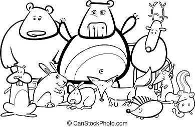 wild animals group cartoon for coloring book