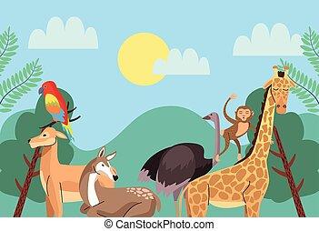 wild animals group in the landscape scene