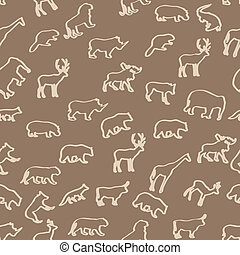 wild animals hand drawn seamless pattern background