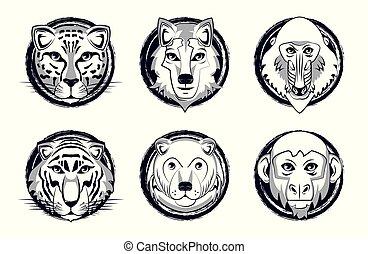 Wild animals heads cartoon