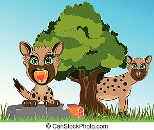 Wild animals hyena on background of the nature - Vector...