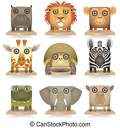 Animals of Africa - Wild animals icon set. Animals of...