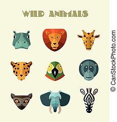 Wild animals icons. Vector format.
