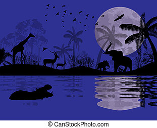 Wild animals in african landscape