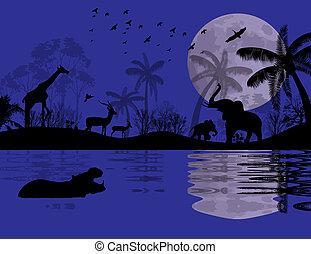 Wild animals in african landscape
