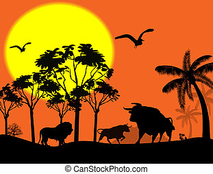 Wild animals in beautiful landscape