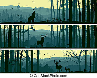 Wild animals in hills wood. - Horizontal abstract banners of...