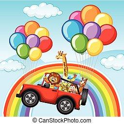 Wild animals in jeep over the rainbow