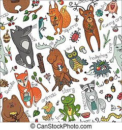 Wild animals in seamless pattern.Woodland doodles