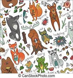 Wild animals in seamless pattern.Woodland doodles