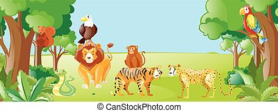 Wild animals in the field