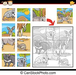 wild animals jigsaw puzzle game - Cartoon Illustration of...