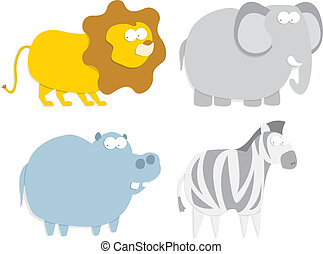 Wild animals: lion, hippo, zebra and elephant