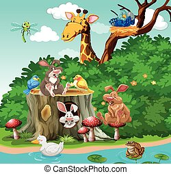 Wild animals living in the park illustration