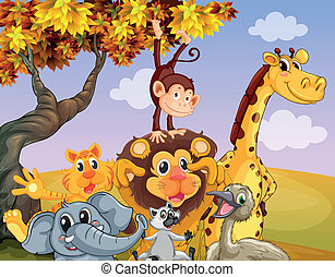 Wild animals near the big tree - Illustration of the wild...