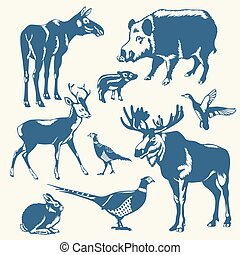 vector wild animals and birds on a white background
