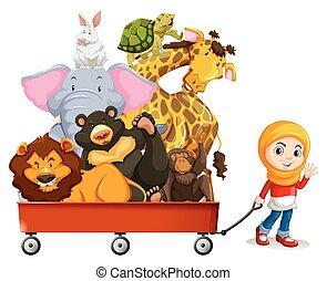 Wild animals on red wagon
