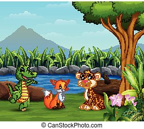 Wild animals playing on the beautiful landscape