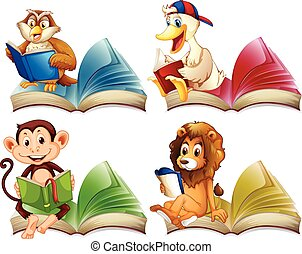 Wild animals reading books illustration
