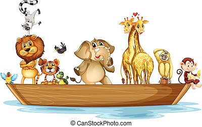Wild animals riding on the boat
