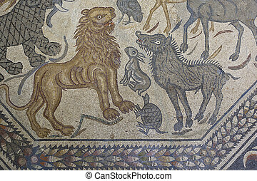 Roman polychrome mosaic of Century VI AC with the representation of a wild animals as a lion, turtle, rabbit, etc.