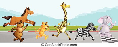 Wild animals running in race