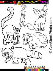 wild animals set for coloring book - Coloring Book or Page...