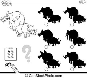wild animals shadow game coloring book - Black and White...