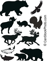 Wild animals. Vector silhouette.