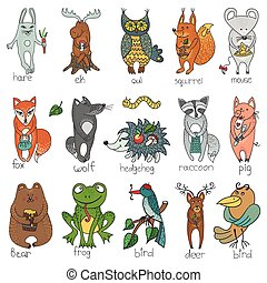 Wild animals,isolated .Woodland doodle set
