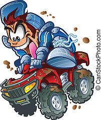 Wild ATV Quad Rider - Wild Smiling ATV Quad Rider Making a...